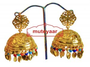 Big LOTAN Earrings Real Gold Plated Traditional Punjabi Jhumka J0386