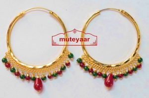 Gold Polished Punjabi Traditional Big Earrings Bali set J0387