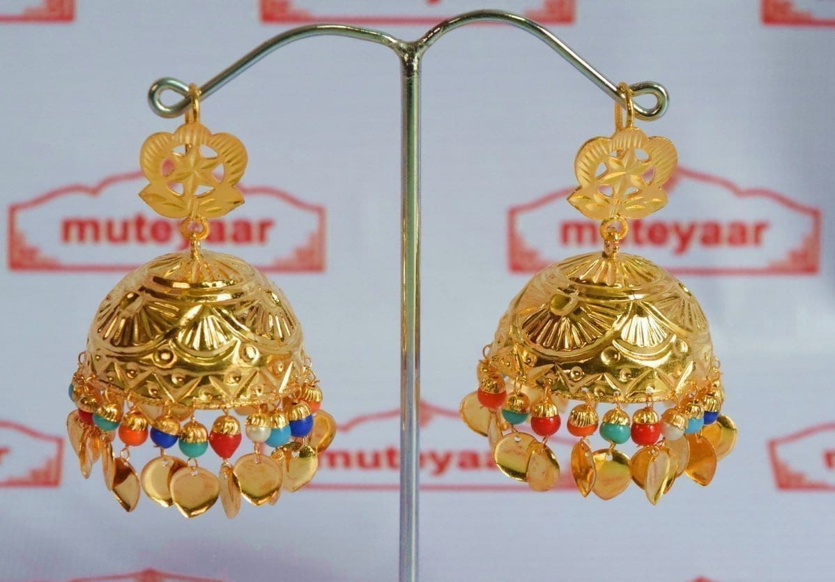 Big Lotan Jhumka Earrings Handmade 24 ct. Gold Plated Traditional Punjabi Jhumki J0396 1