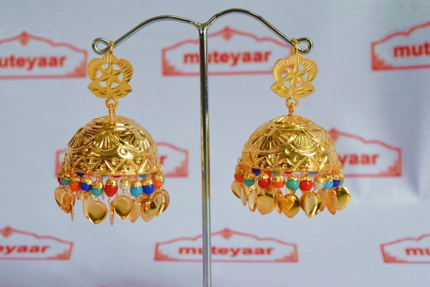 Big Lotan Jhumka Earrings Handmade 24 ct. Gold Plated Traditional Punjabi Jhumki J0396 2