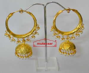 Gold Polished Dangles Jhumka Waliyaan Lotan Bali set with white beads J0400