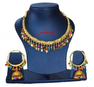Gold Polish Multicolour Traditional Punjabi jewellery Hasli Necklace & Lotan Bali set J0402
