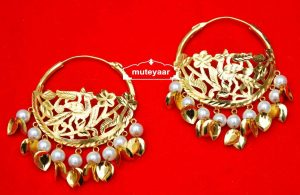 Handmade Morni Earrings 24 ct. Gold Plated Punjabi Traditional J0409