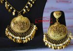 Handmade Punjabi Traditional Gold Plated Pendant Earrings with matching Tikka J0411