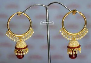 Maroon Moti Jewellery Gold Polish Traditional Punjabi Earrings small Jhumki J0424