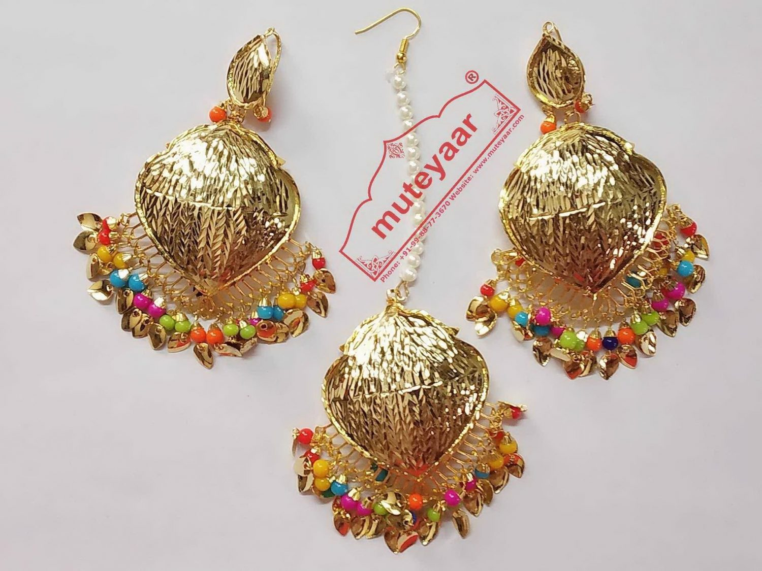 Cut Work Golden Polished Traditional Punjabi Jewellery Earrings Tikka set J0432 1
