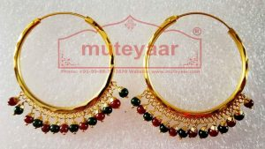 Gold Polished Bali Earrings with Maroon Green beads J0435