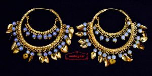 Traditional Punjabi Gold Plated Ear Rings Baliyaan with White Beads J0441