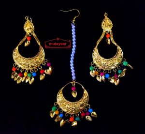 Gold Polished Punjabi Earrings Tikka set with multicolour moti beads J0447