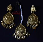 Gold Polished Punjabi Earrings Tikka set with white moti beads J0457