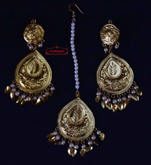Gold Polished Punjabi Earrings Tikka set with white moti beads J0458