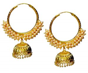 Pearl Beads Gold Polished Traditional Punjabi Earrings Bali set J0461