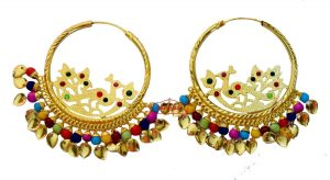 Golden Polish Jadau Traditional Punjabi Jewellery Morni Bali Earrings J0471
