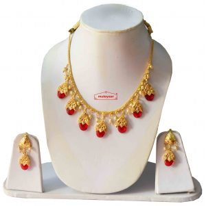 Punjabi Traditional Dakh Set with Red Stones