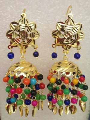 Multicolour Beads Gold Polished Traditional Punjabi Jhumki J0474