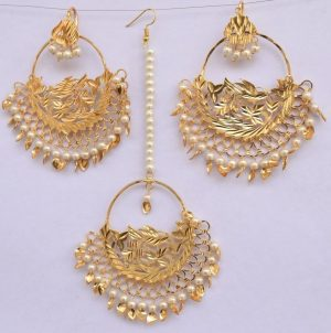 Gold Polished Punjabi Earrings Tikka set with white moti beads J0481