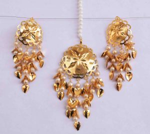 Gold Polished Punjabi Earrings Tikka set with white moti beads J0487