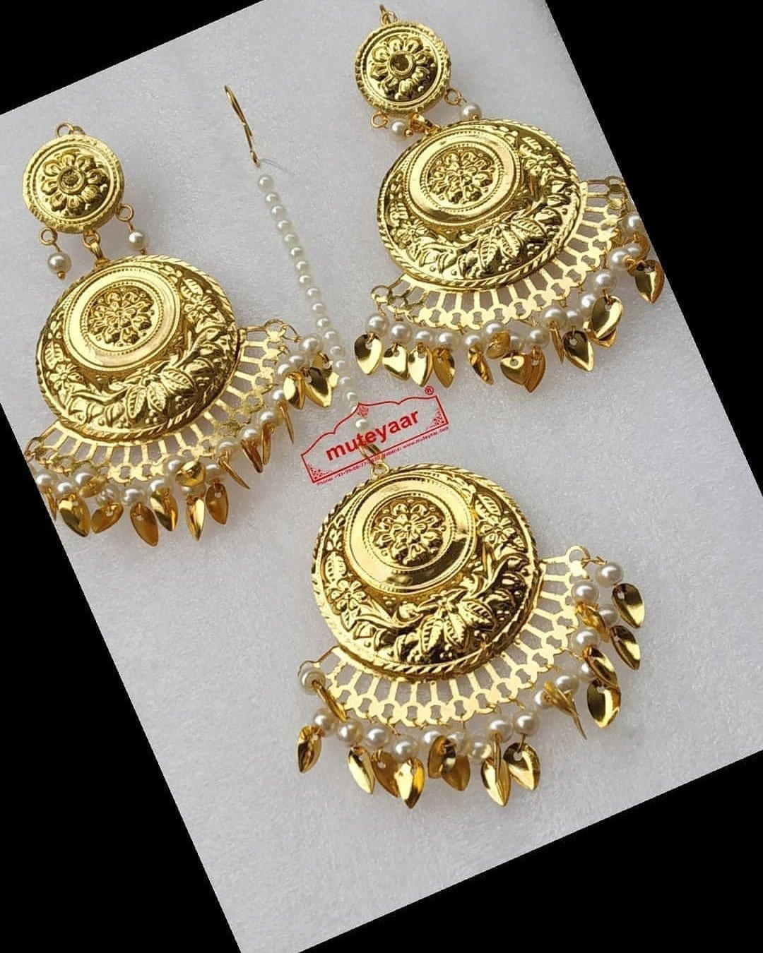 Gold Polished Punjabi Earrings Tikka set J0490 1