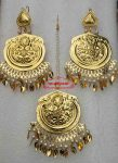 Gold Polished Punjabi Earrings Tikka set J0491