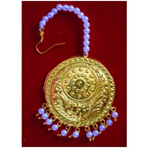 Golden Large Size Tikka Maang Teeka jewellery for giddha and bhangra J0117